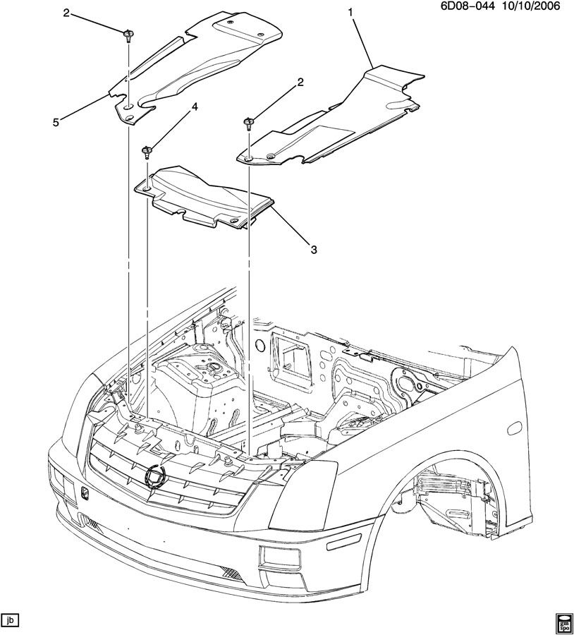 Cadillac Sts Shield  Front Compartment Pan  Shieldfcmpt