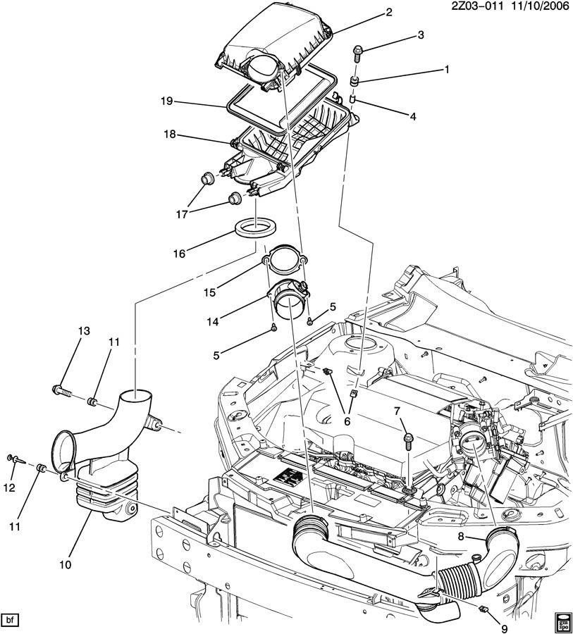 2007 Pontiac G6 Engine Air Intake Hose  Front  Rear   3 6 Liter