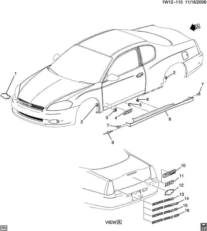 2007 Chevrolet Monte Carlo Ss Molding  Rocker Panel