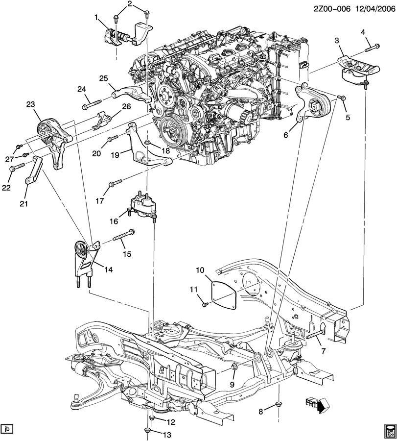 pontiac g6 engine  u0026 transmission mounting