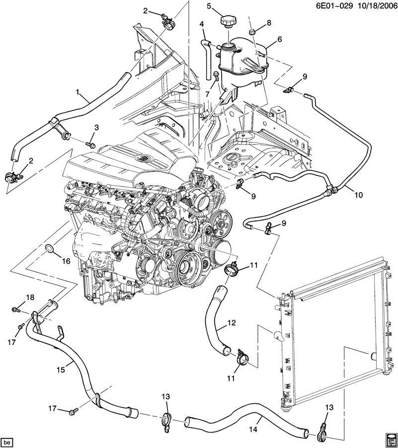 Cadillac Sts Hose  Engine Coolant Recovery  Hose  Rad