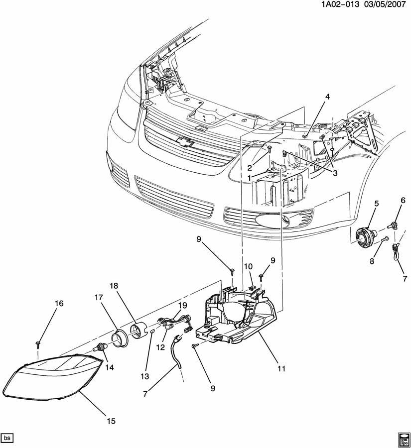 Pontiac G5 Bracket  Capsule  Headlamp  Fog Lamp Mounting