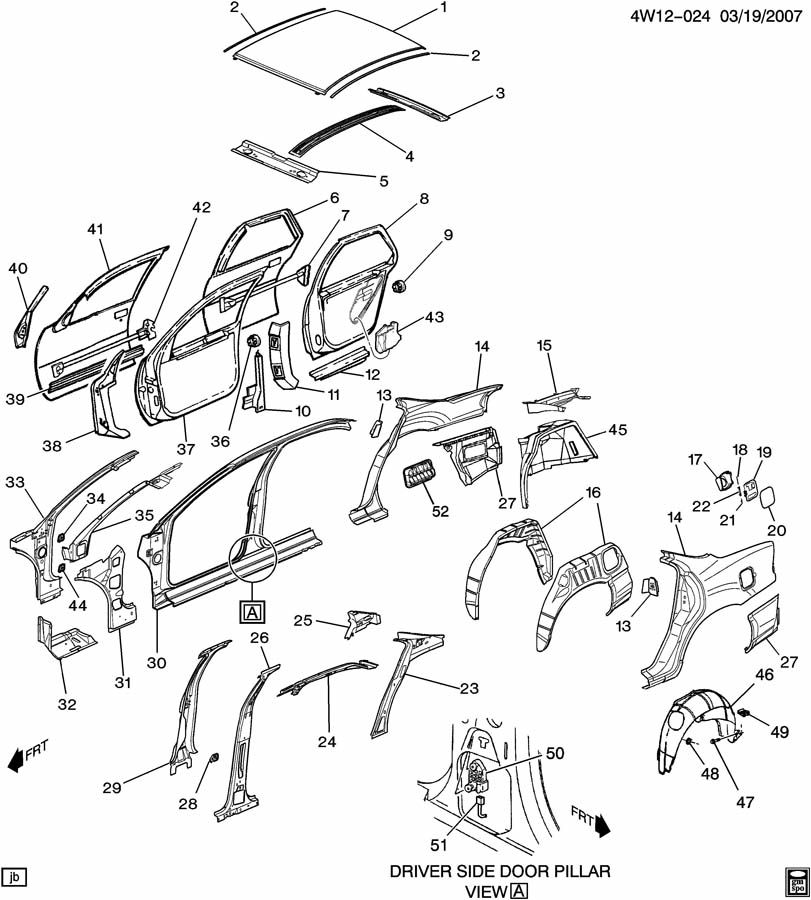 12530162 - buick panel  rear wheelhouse  panel  rr w  h inr w  strut mounting holes