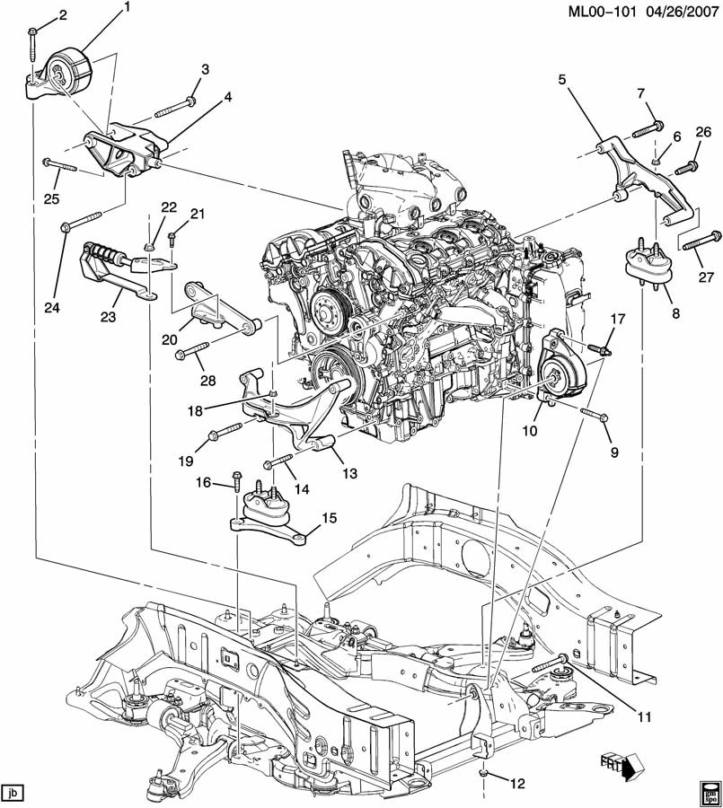 pontiac torrent engine  u0026 transmission mounting