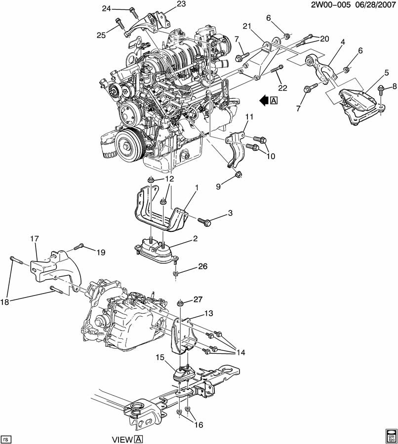 2002 Buick Century Engine  U0026 Transmission Mounting