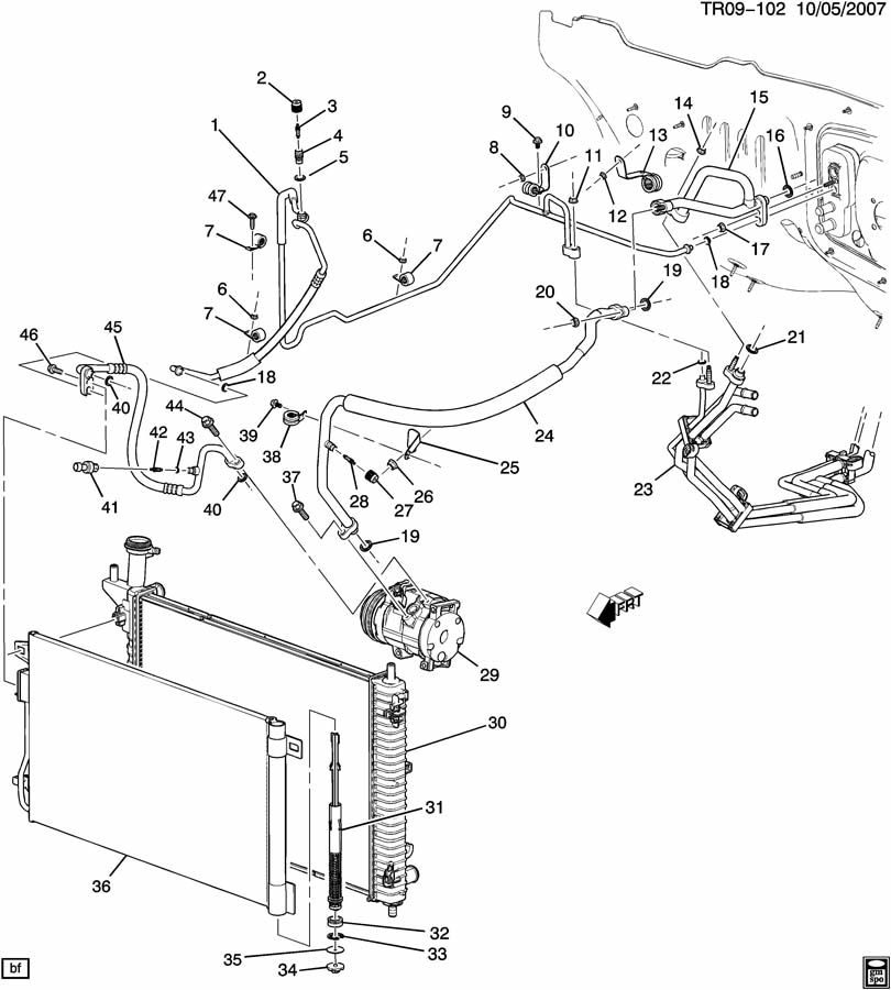 saturn outlook a  c refrigeration system  front