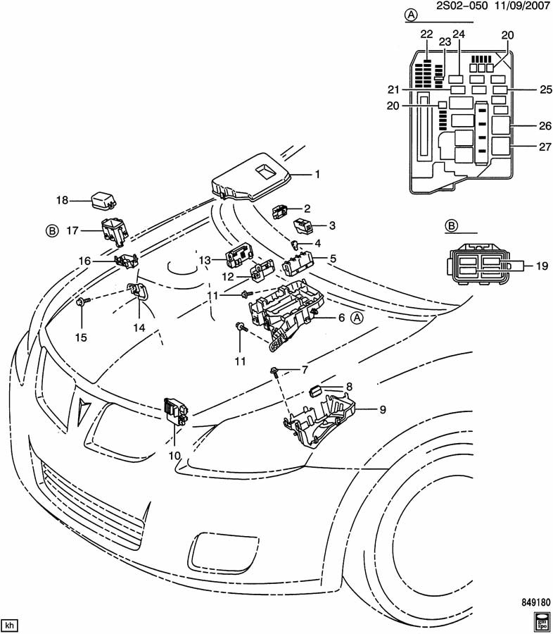 Pontiac Vibe Engine Compartment Fuse Box : Relays engine compartment junction blocks related parts