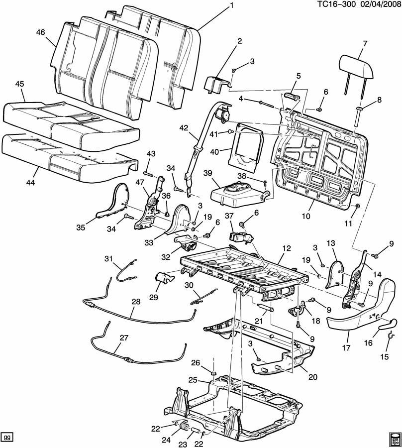 15291597 - gmc pad  seat back cushion  pad  r  seat bk