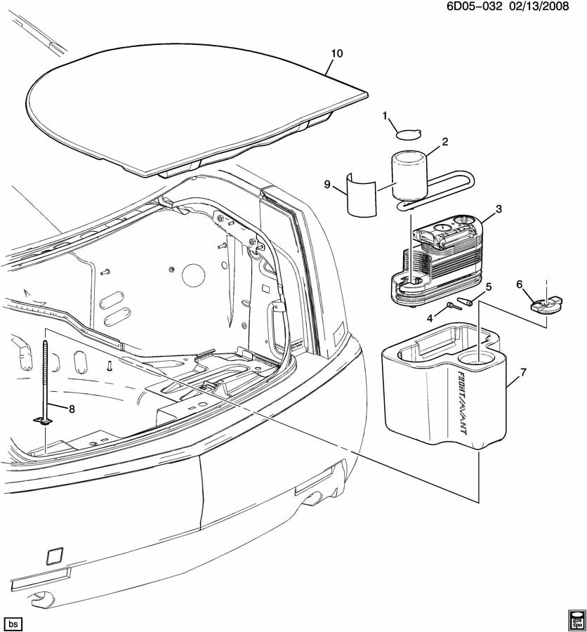 2008 Cadillac CTS TIRE INFLATOR