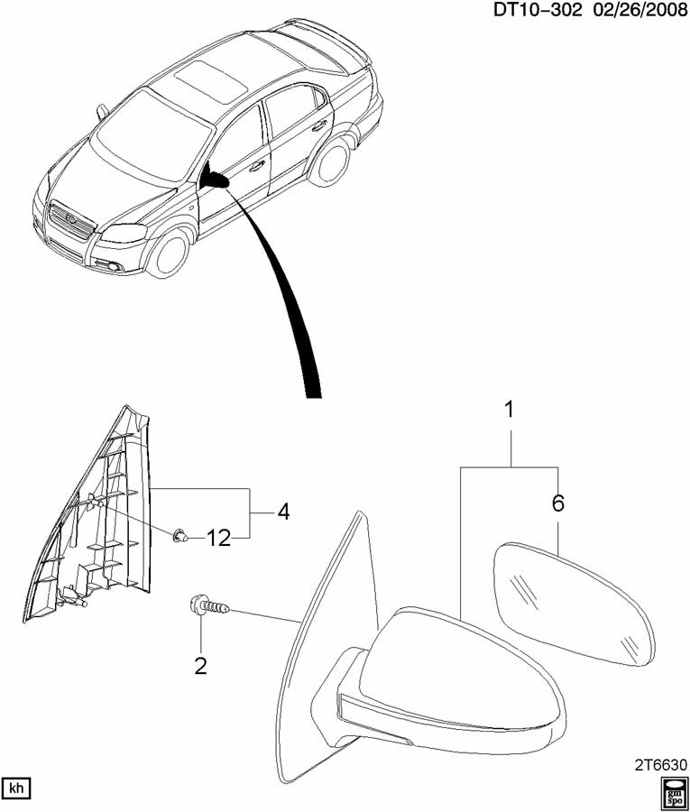 Diagram MIRROR/REAR VIEW EXTERIOR for your 2010 Chevrolet COLORADO
