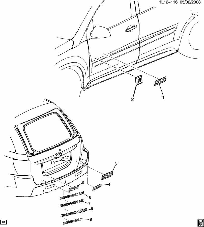 chevrolet equinox emblem  rear end panel and tailgate  emblemlgategoldchevy  outlinefor