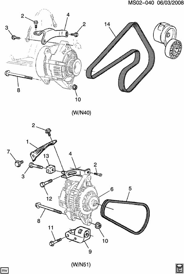 Chevrolet Aveo Bolt  Engine Oil Cooler  Generator Adjust
