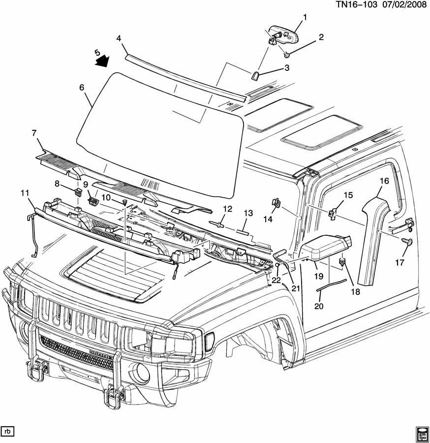 hummer h3 molding  windshield garnish  u0026 reveal  molding  w  s si rvl gray  - rh
