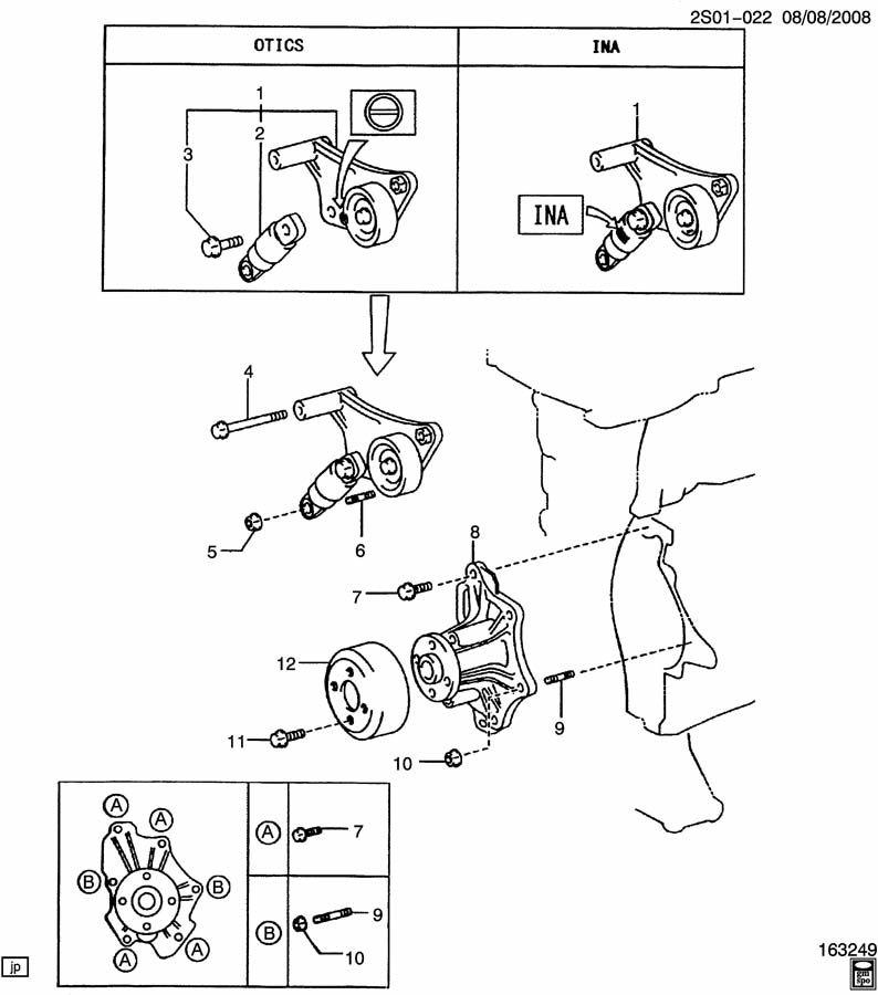 2009 pontiac vibe engine coolant pump  u0026 drive belt tensioner