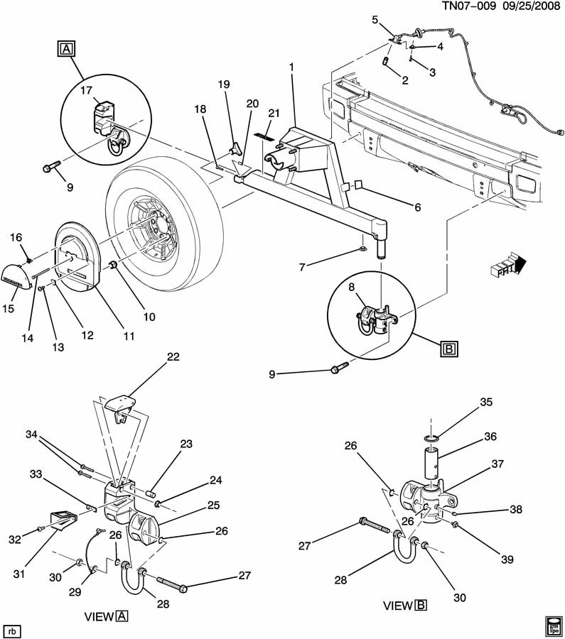Spare Tire Carrier Parts