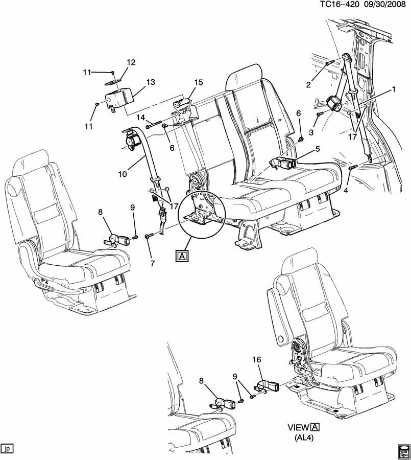 Gmc Yukon Belt  Seat Belt  Belt  R  Seat Ctr Shldr Retr Si