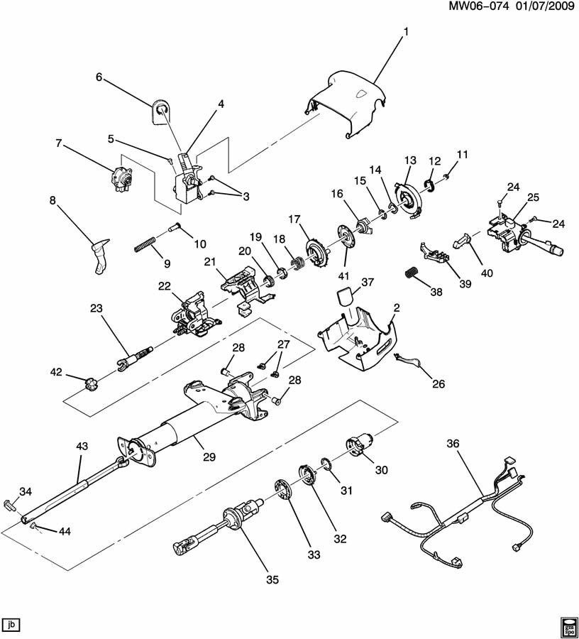 Diagram STEERING COLUMN for your Saturn Relay