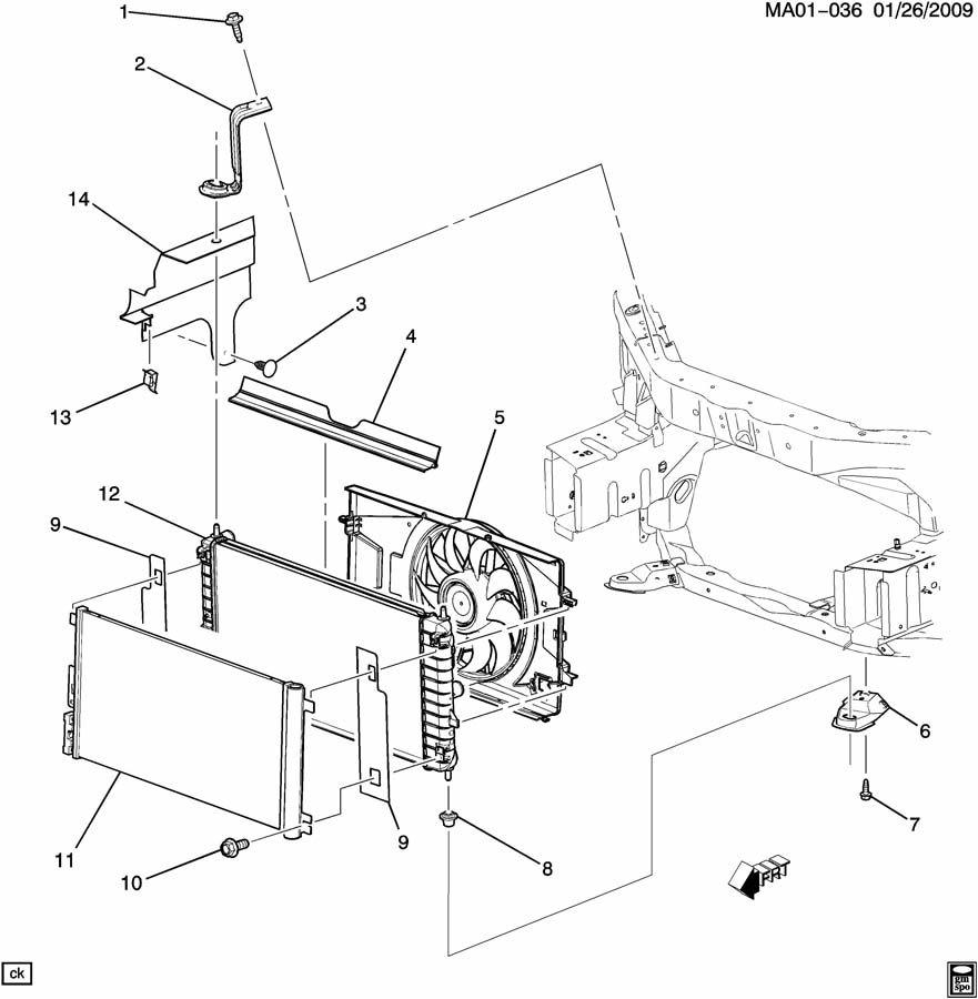 Chevrolet Cobalt Bracket  Radiator  Bracket  Rad Upr Incls