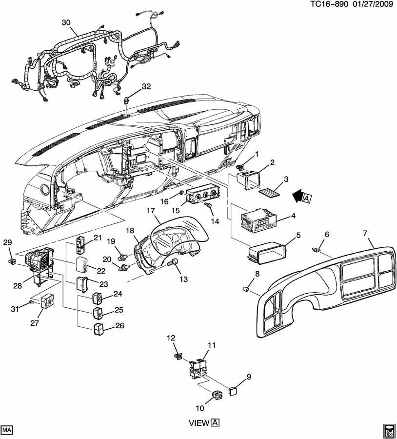 2001 Chevrolet Silverado Clip  Instrument Cluster