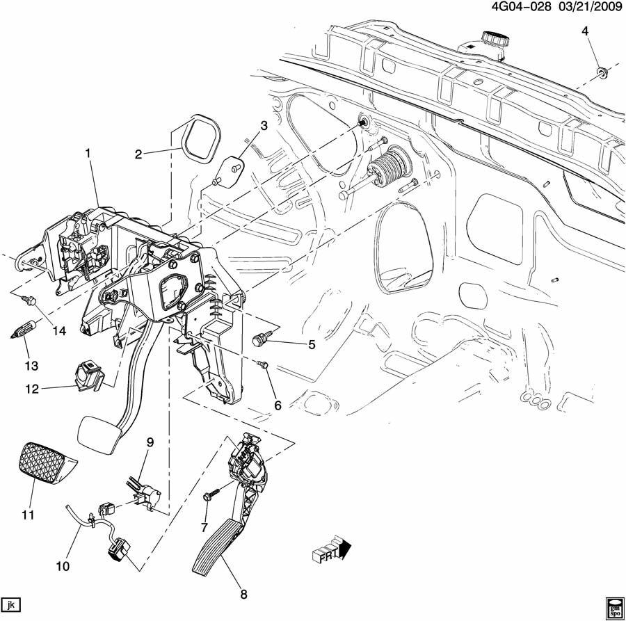 2011 buick regal brake pedal