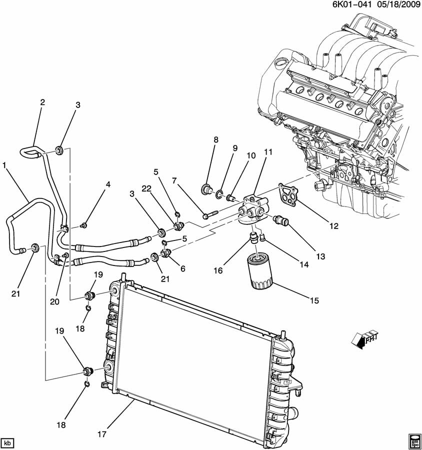 2007 Cadillac DTS ENGINE OIL COOLER LINES