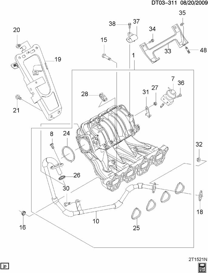 Chevrolet Aveo Pipe  Emission System  Pipe  Egr Vlv