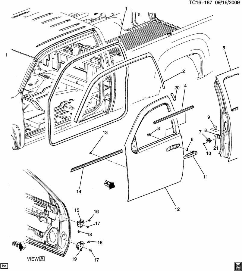 2009 Chevrolet Silverado Ext Cab Weatherstrip  Side Door Opening  Weatherstrip  Frt  U0026 Rr S  D