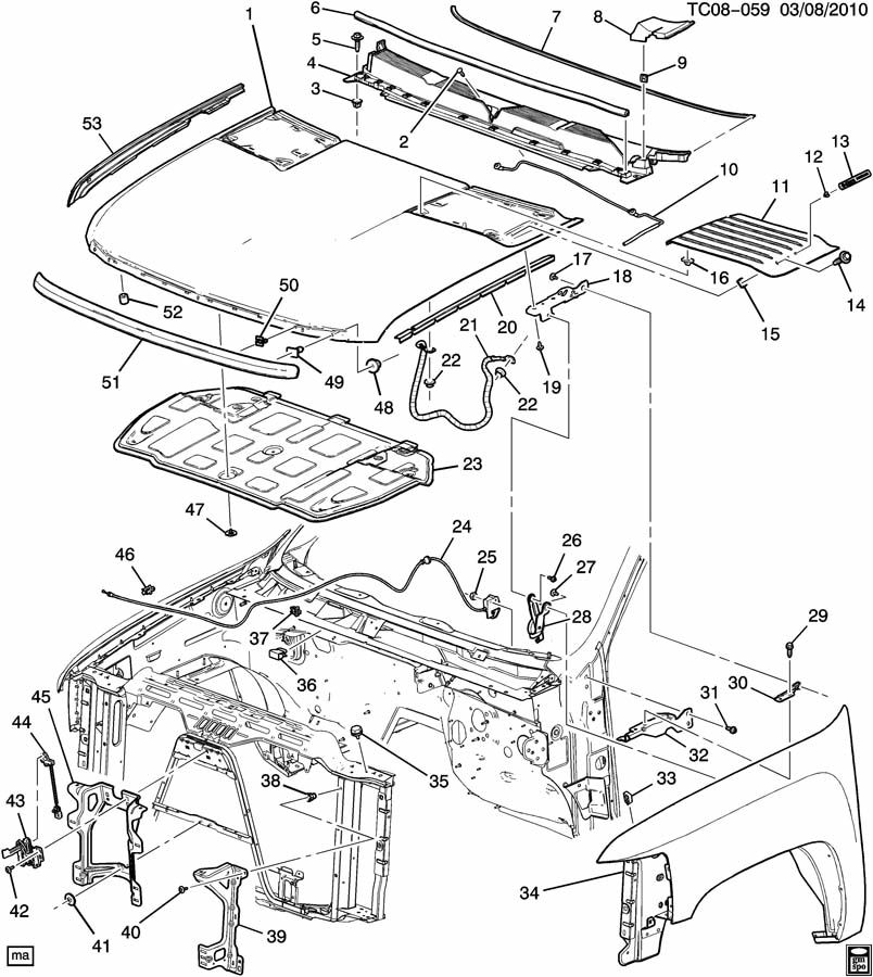 Chevrolet Silverado Insulator  Hood Panel  Insulator  Hood