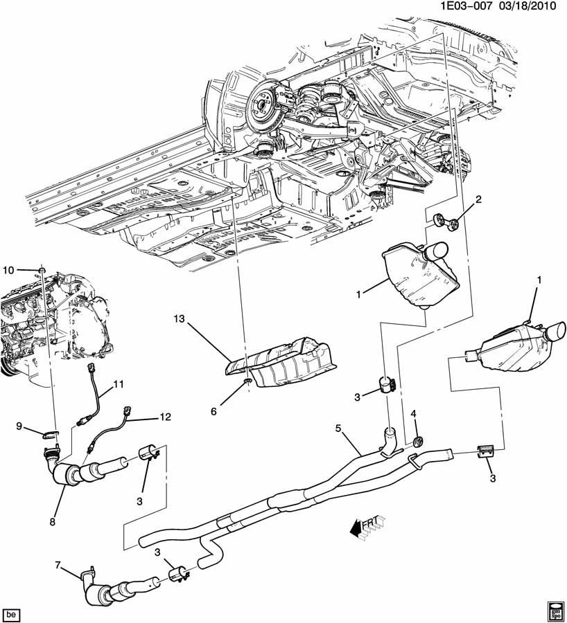 2011 chevrolet camaro es exhaust system  ls3  6 2w