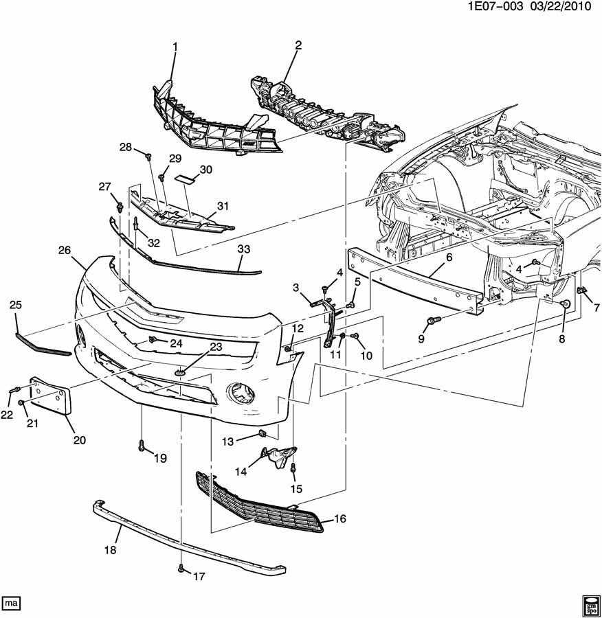 2010 Chevrolet Camaro Ss  1ss  Fascia  Front And Rear Bumper  Fascia Face  Fascia  Frt Bpr Paint