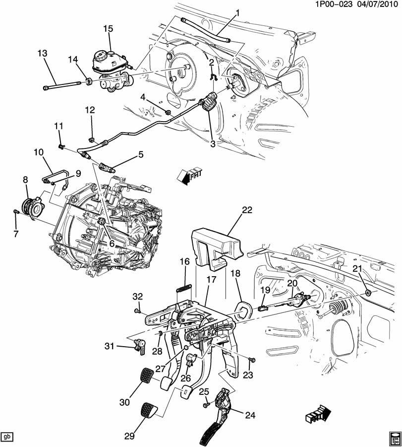saturn clutch pedal diagram