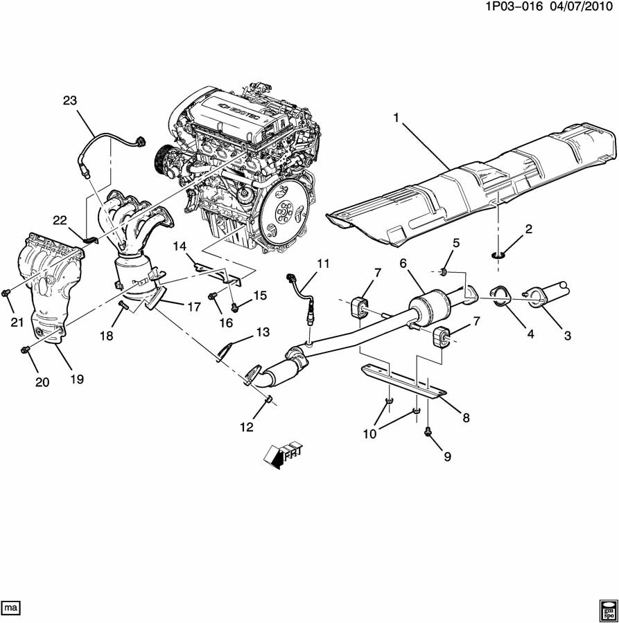 2011 Chevrolet Cruze P EXHAUST SYSTEM/FRONT (LUW/1.8H);