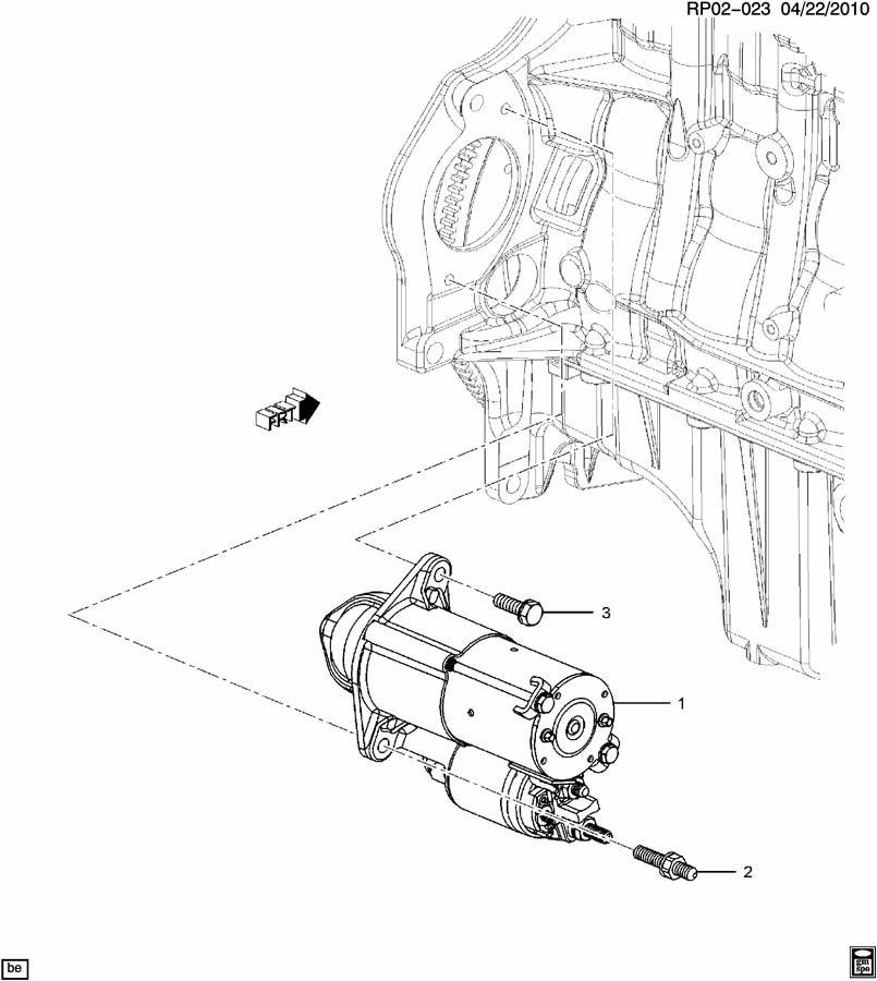 chevrolet cruze starter motor mounting