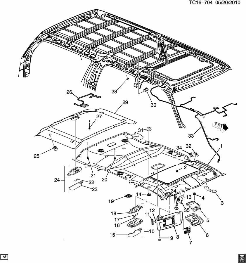 2001 Chevrolet Suburban Trim Interior Roof