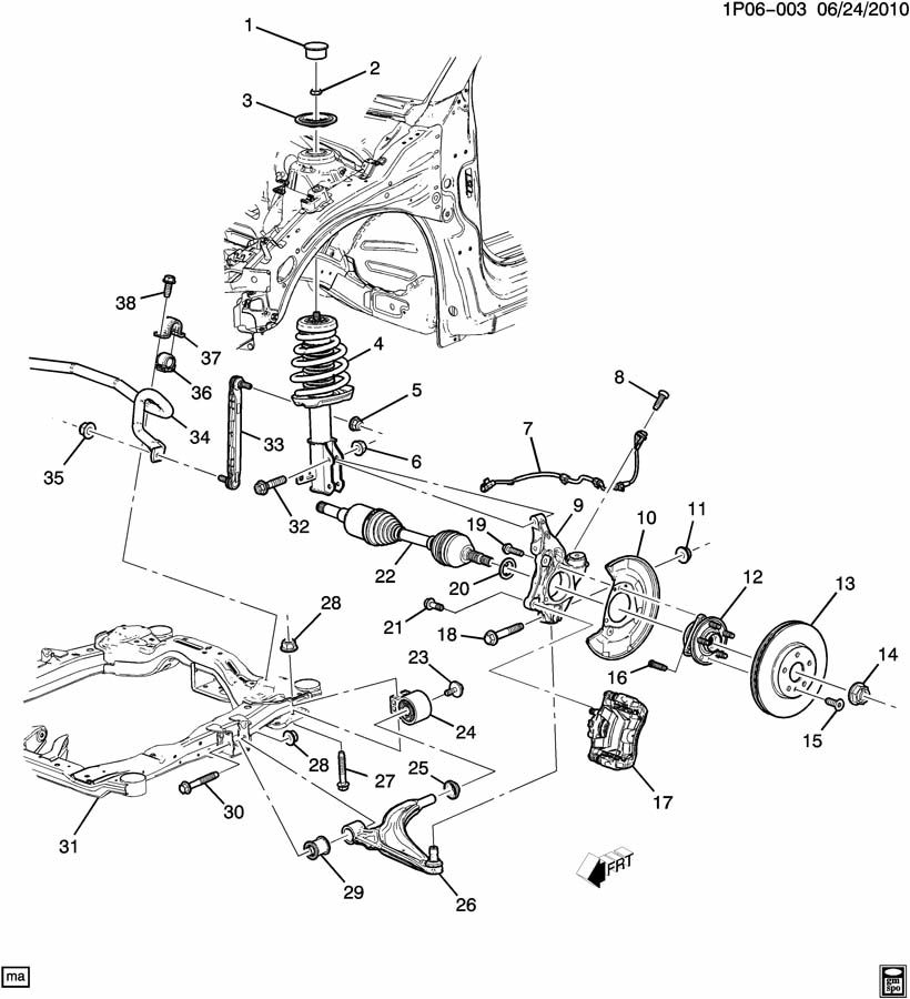 pontiac vibe suspension parts diagram