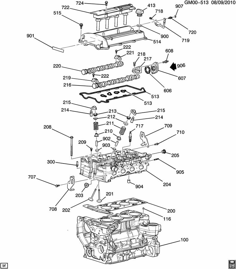 100809GM00-513  L Ecotec Engine Diagram on other vehicles, d2l, turbo crate, saturn sl,