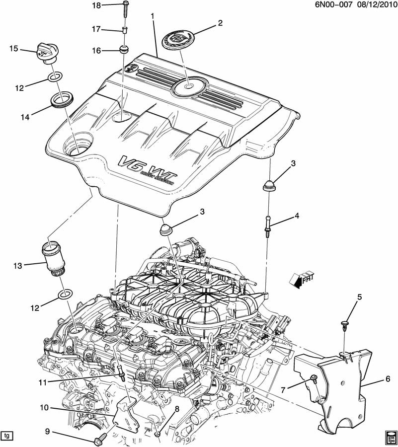 2011 Cadillac Srx Performance 4dr Insulator  Grommet  Manifold To Cylinder Head  Emission System