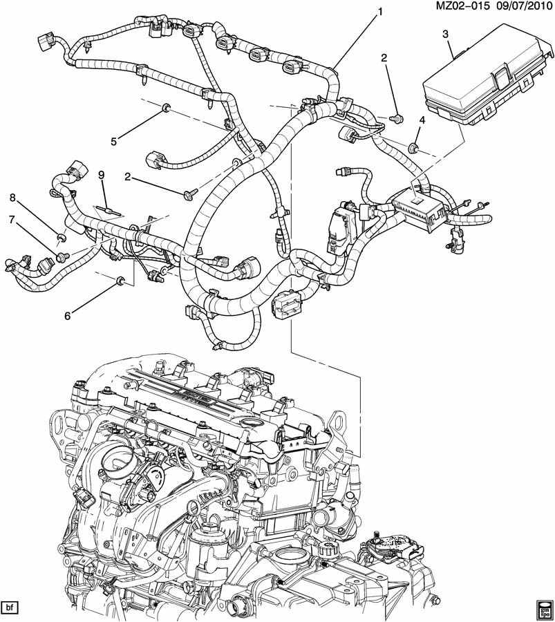 chevrolet malibu wiring harness  engine