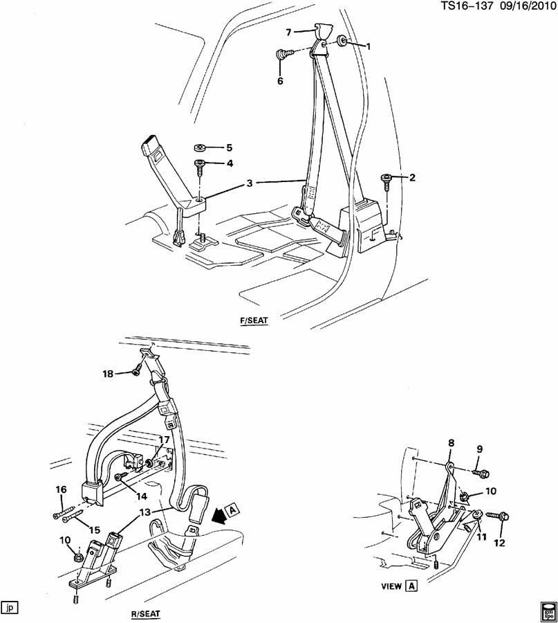 12543383 - Chevrolet Belt Kit  Am7 - Rear Folding Bucket  Split Bench  Z79