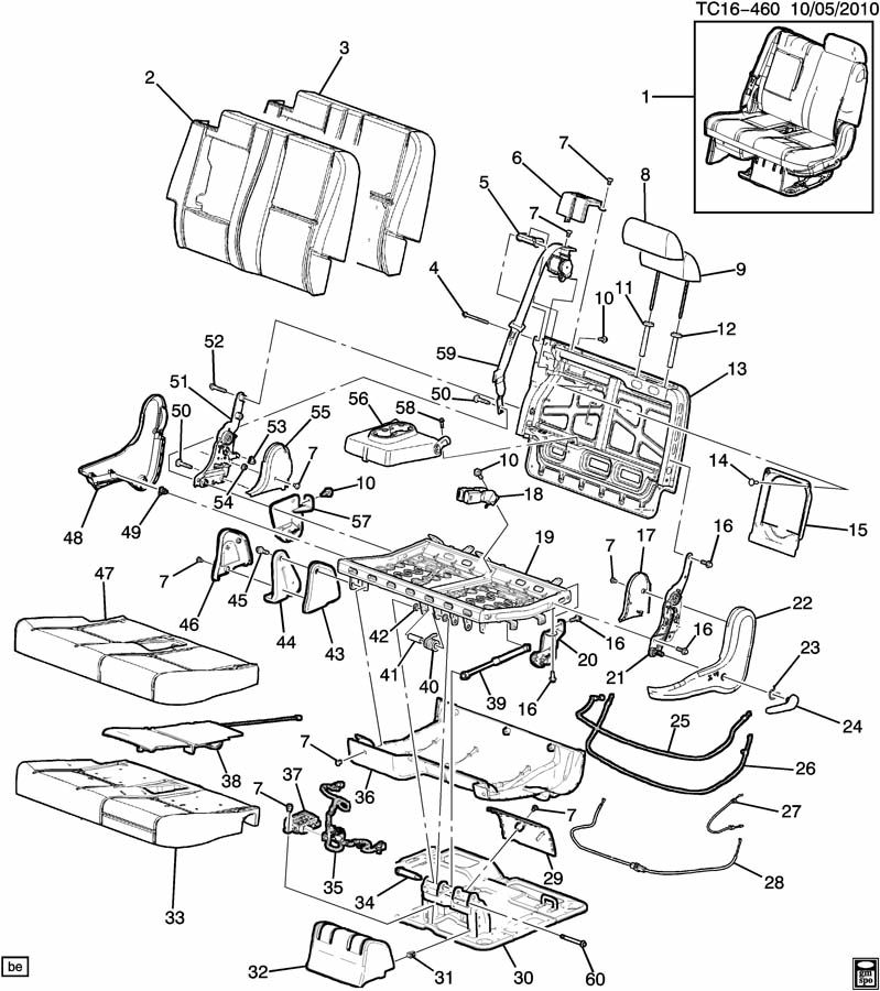 15279616  seat bk hge fin titanium  outboard