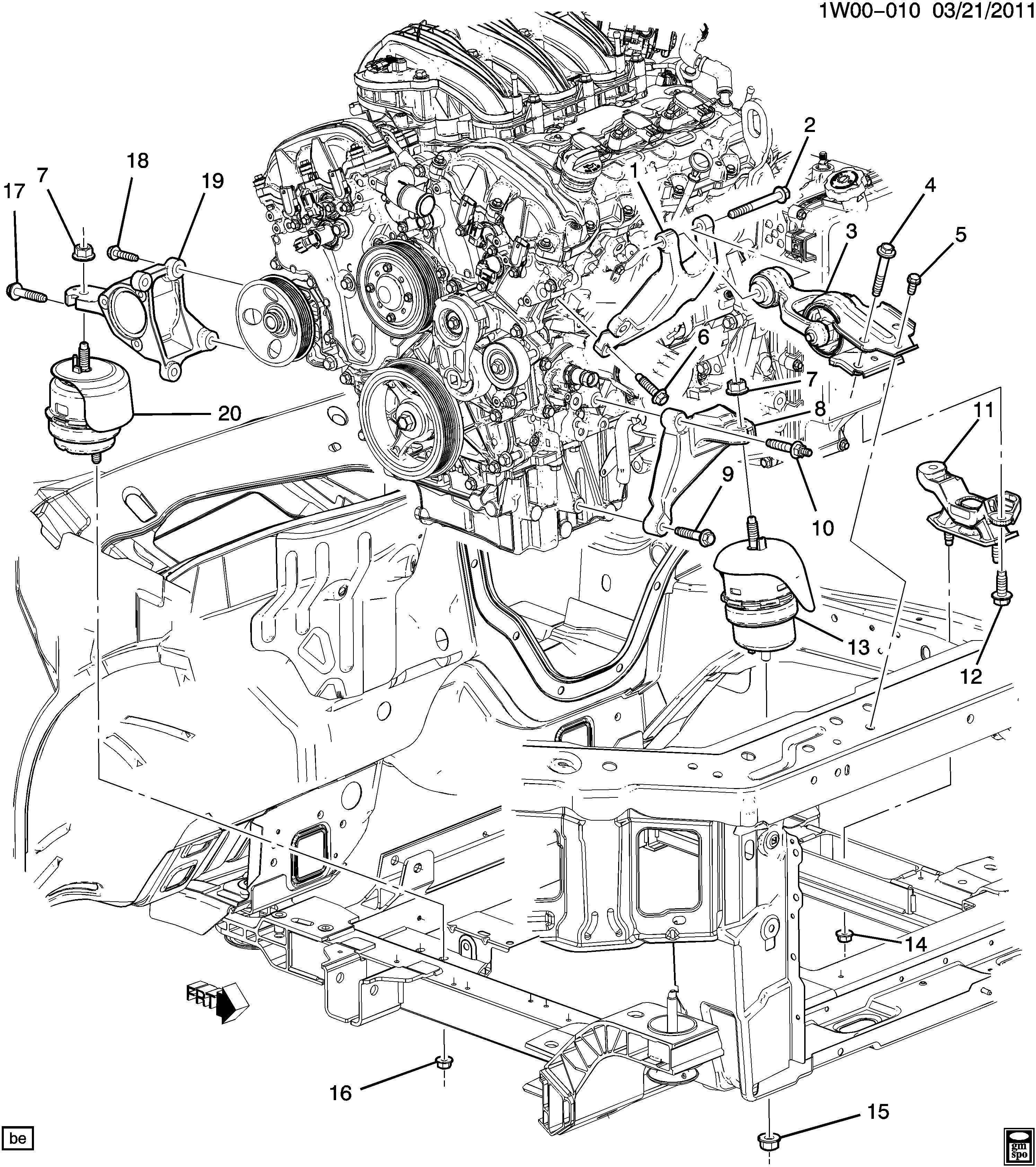 2012 Chevrolet Impala Ltz 4dr Mount  Transmission Mounting