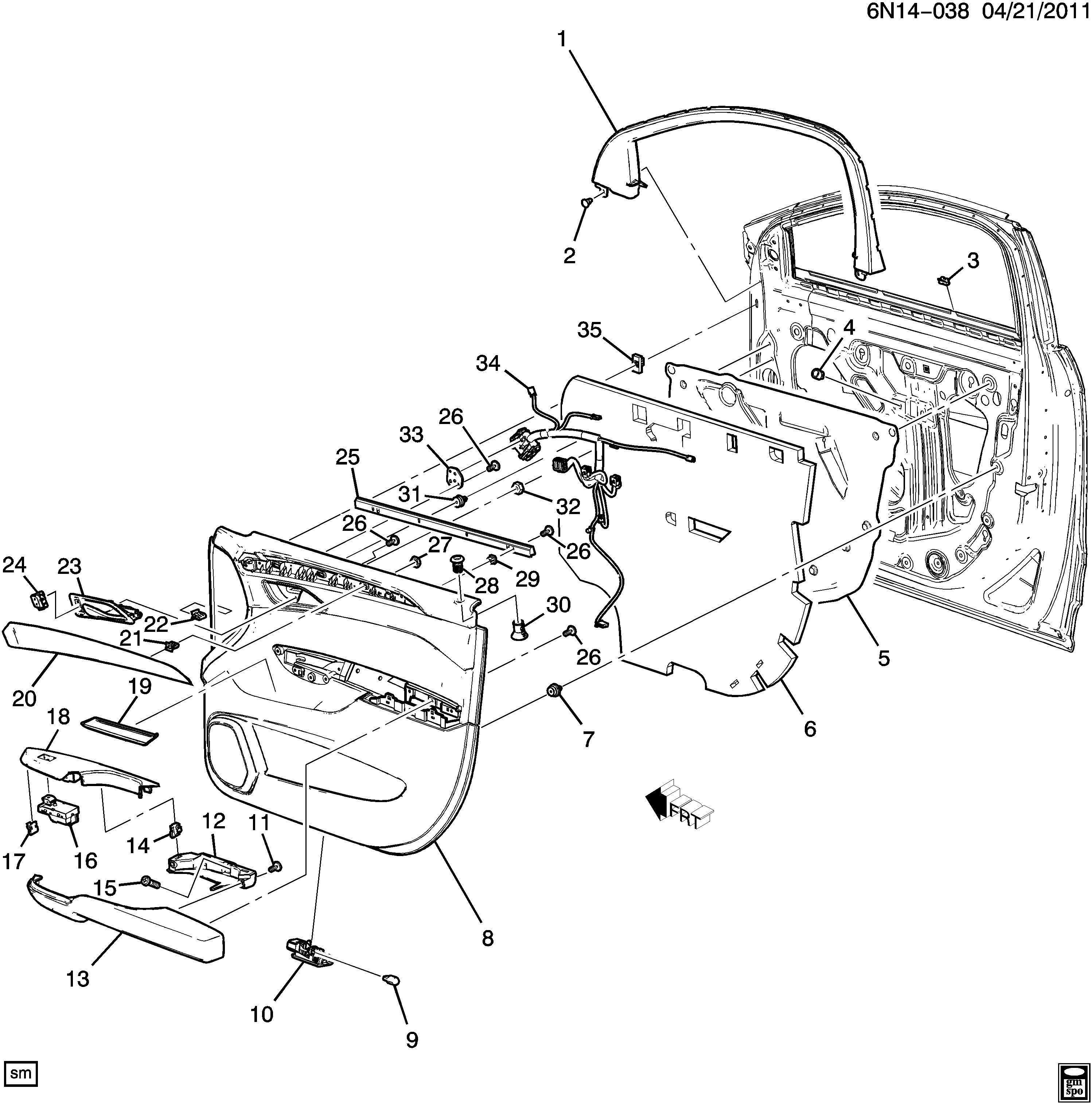 2012 Cadillac Srx Harness  Body Wiring  Harness  Frt S  D Dr Lk  U0026 P  W  U0026 O  S Rr View Mir Wrg