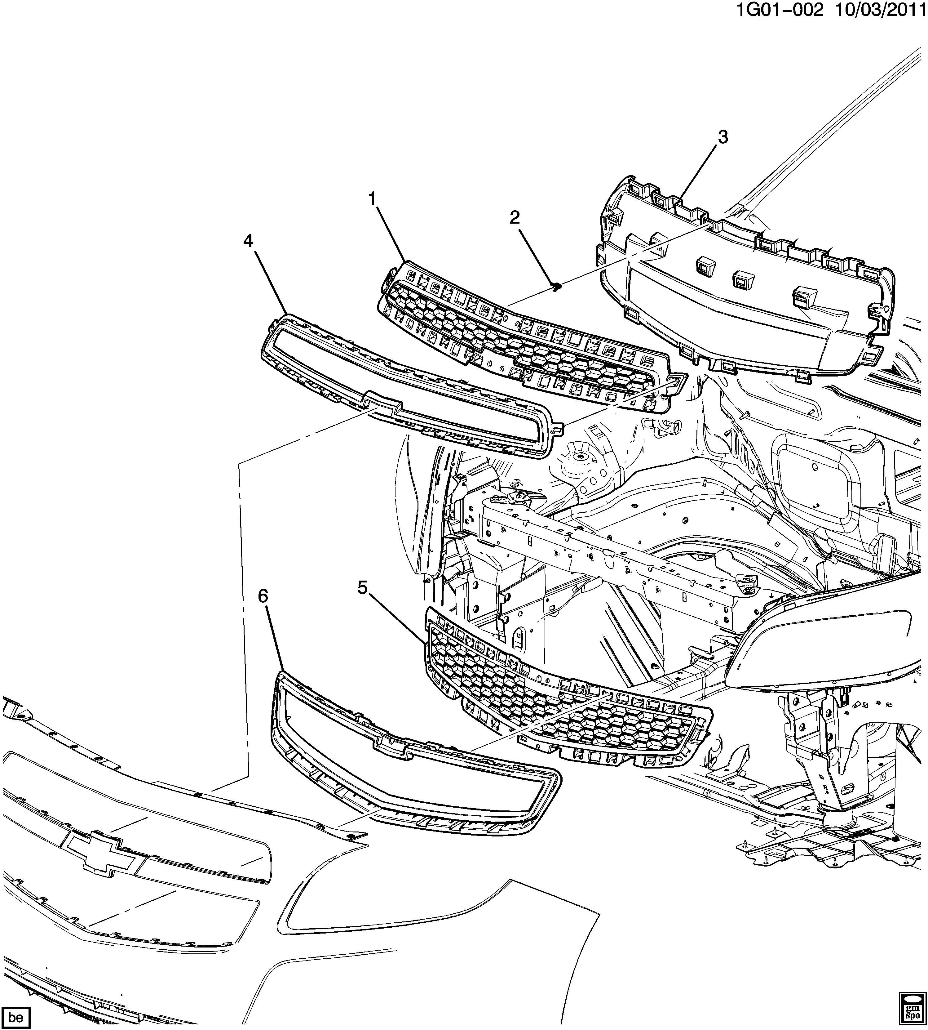 Chevrolet Malibu Grille Bracket. 2013, w/2.0 liter turbo ...
