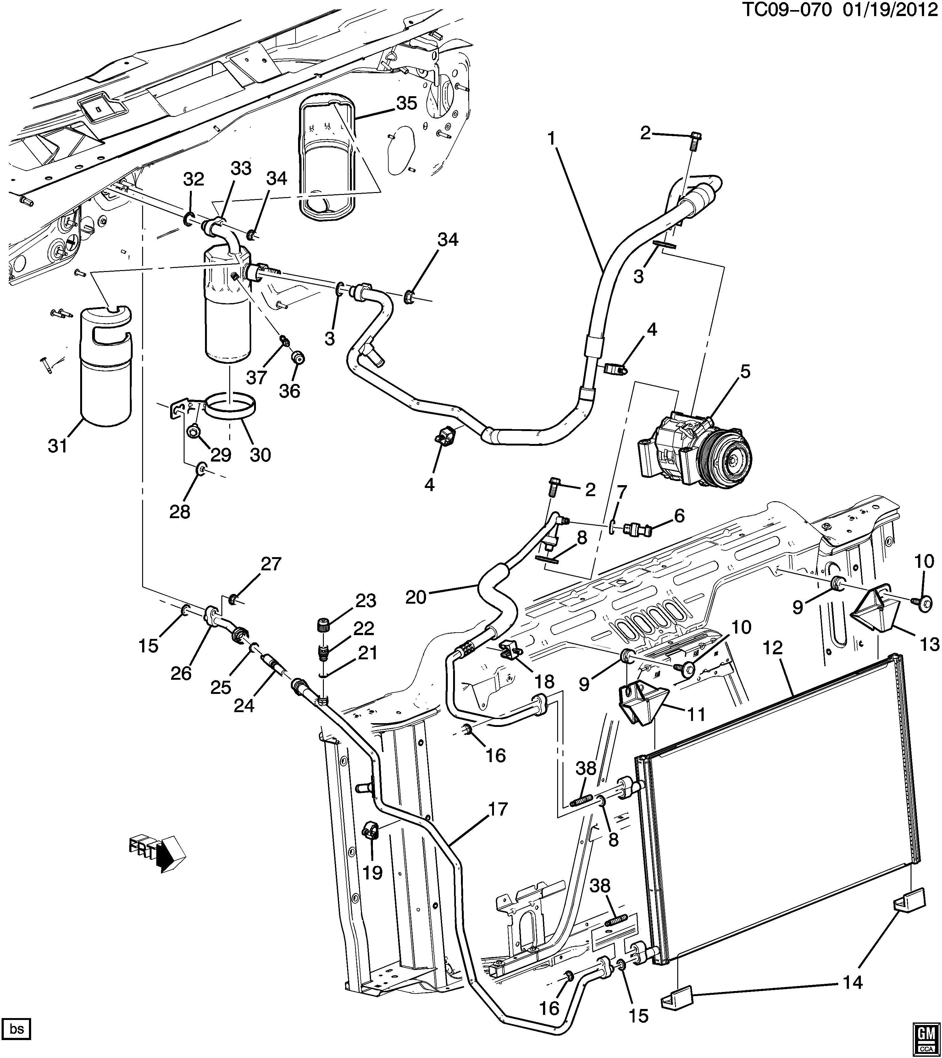 Gmc Sierra Hose  Air Conditioning  A  C  Compressor And Condenser  Hose  A  C
