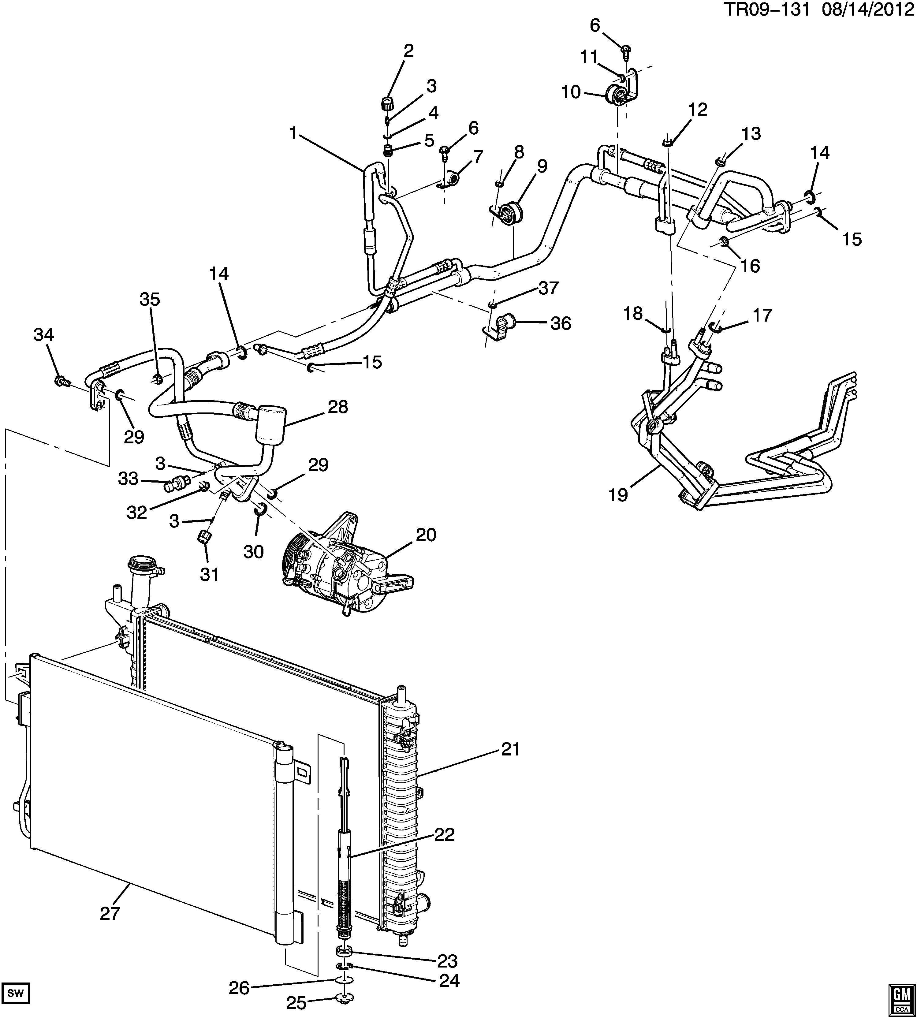 chevrolet traverse tube  air conditioning  a  c  evaporator