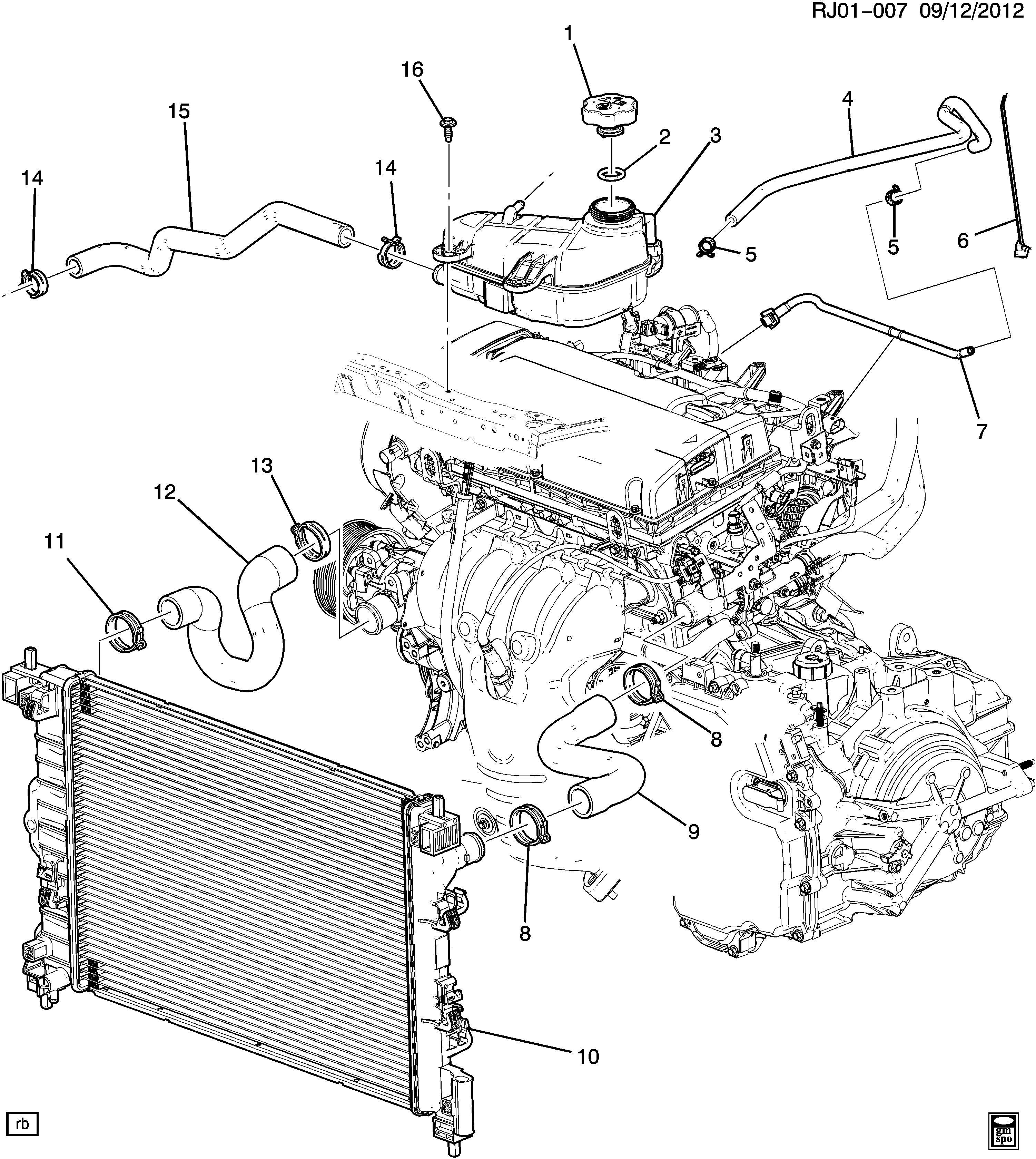 2014 Chevrolet Sonic Pipe  Throttle Body Coolant Supply