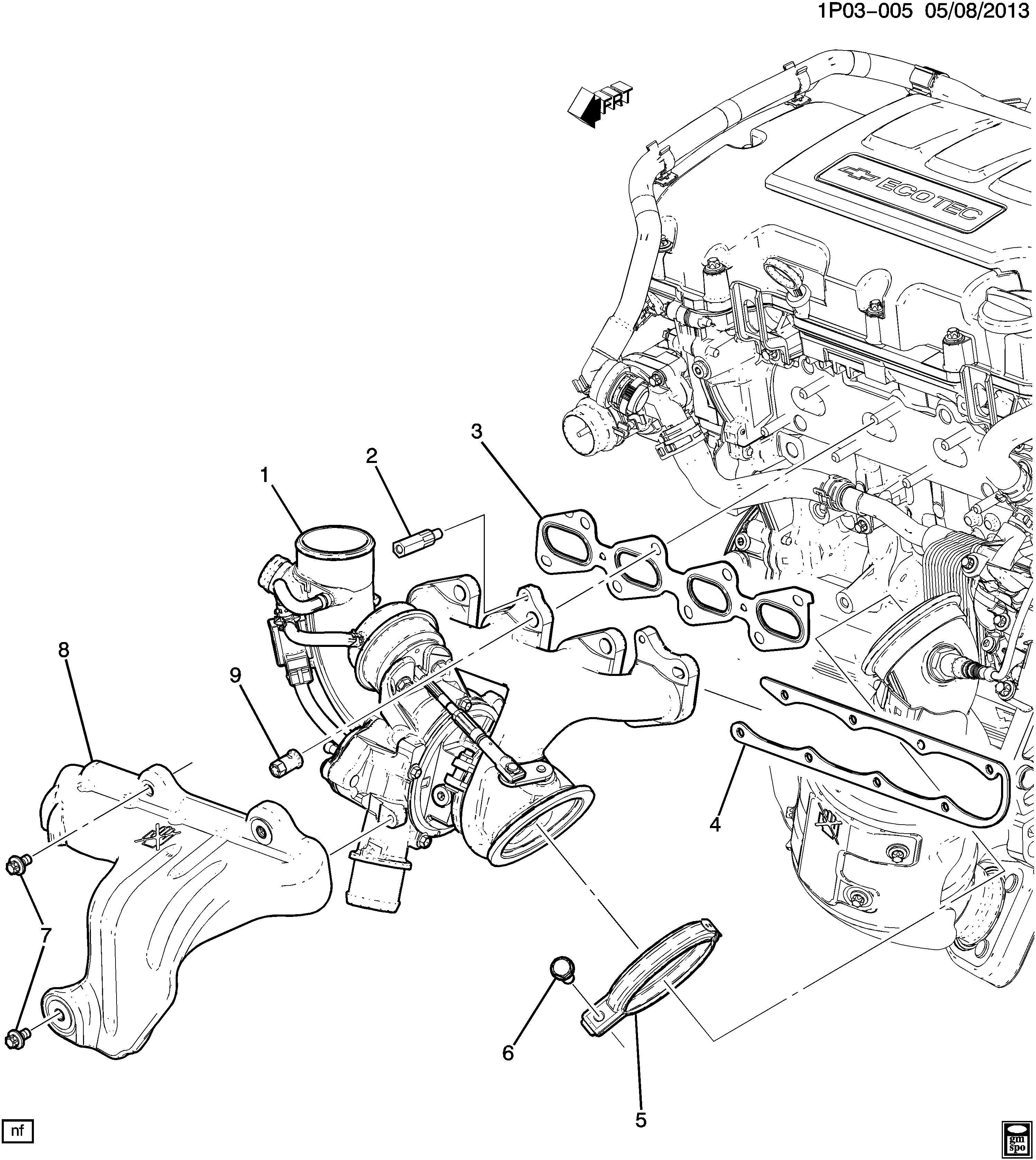 2014 Chevrolet Cruze Nut. Exhaust manifold bolt. Nut, exh ...