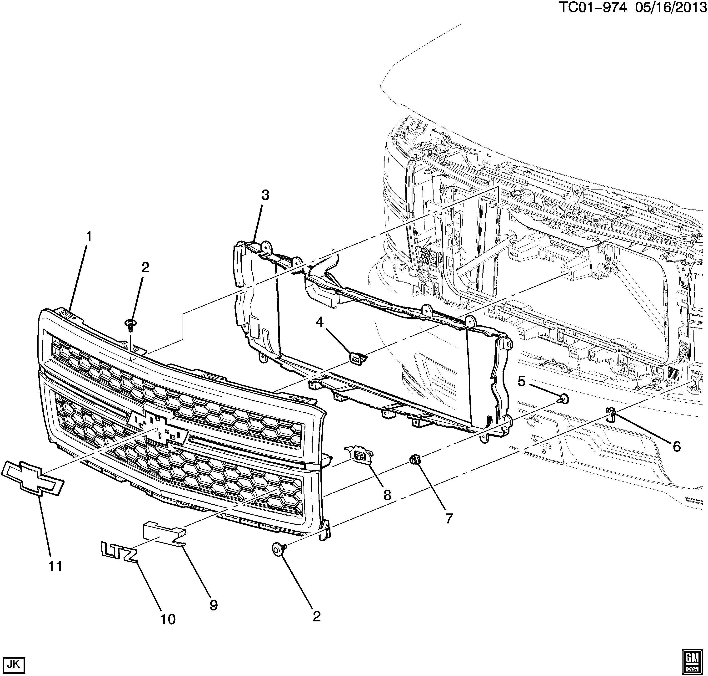 23181418 gmc grille front bumper radiator grille. Black Bedroom Furniture Sets. Home Design Ideas