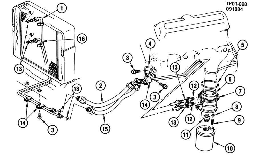 chevrolet p30 hose  engine oil cooler