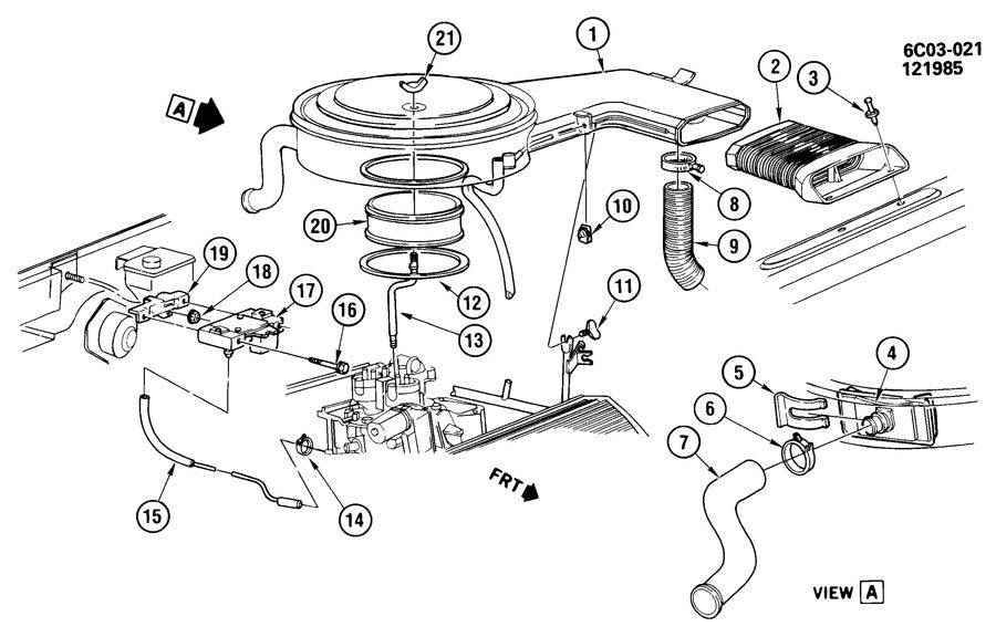 1986 cadillac deville touring sedan air intake system